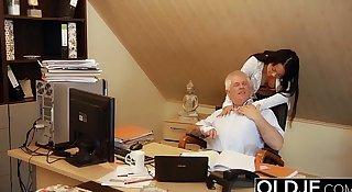 Young Old Boss Fucks Secretary Teen Pussy fucks her and facial cumshot