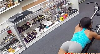 Black fitness babe pussyfucked in the shop